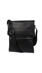 Стильная мужская кожаная сумка для повседневного использования с плечевым ремнем CasualStyle SM-4371 черная