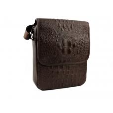 Мужская сумка через плечо из натуральной кожи с текстурой рептилии