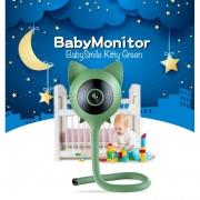 Видеоняня BabySmile Kitty Green (датчик температуры, датчик влажности, датчик плача, датчик движения, колыбельные мелодии, ночное видение, порт SD карты до 128Гб)