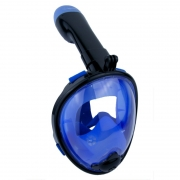 """Детская панорамная маска для дайвинга и снорклинга BabySmile Black and Blue (черно-голубая, панорама 180, крепление для экшн камеры, трубка с клапаном системы """"поплавок"""", анти-запотевание стекла)"""