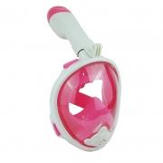 """Детская панорамная маска для дайвинга и снорклинга BabySmile White Girl (бело-розовая, панорама 180, крепление для экшн камеры, трубка с клапаном системы """"поплавок"""", анти-запотевание стекла)"""
