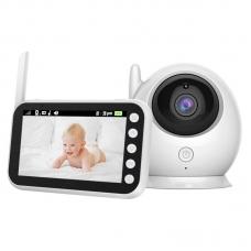 Видеоняня BabySmile Oko (LCD дисплей размером 4,3, датчик температуры помещения, ночное видение, активация голосом, высокочувствительный микрофон, динамик, таймер кормления, 8 колыбельных мелодий)