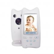 """Видеоняня BabySmile Cat (LCD дисплей 2,4"""", датчик температуры, ночное видение, активация голосом, высокочувствительный микрофон, динамик, родительский блок с аккумулятором 520 мАч, 8 колыбельных, фотосъемка)"""