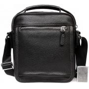 Модная кожаная мужская сумка с ручкой и ремнем через плечо