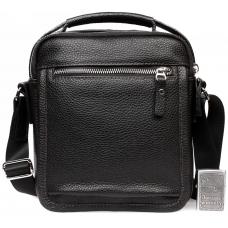 Модная кожаная мужская сумка с ручкой и ремнем через плечо купить