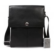 Повседневная кожаная мужская сумка на плечевом ремне и на магните CasualStyle SM-4370 черная