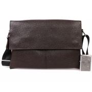 Стильная мужская кожаная сумка через плечо деловая коричневого цвета