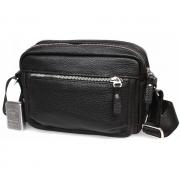 Элитная мужская кожаная сумка горизонтального типа черная
