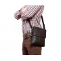Элитная мужская сумка из натуральной кожи коричневая