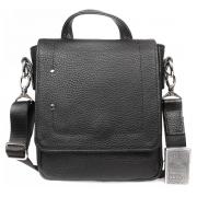 Престижная мужская кожаная сумка с ручкой и ремнем через плечо CasualStyle SM-4422 черная