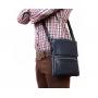Мужская кожаная сумка синего цвета из натуральной кожи с клапаном заказать