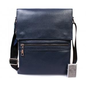 Мужская кожаная сумка синего цвета из натуральной кожи с клапаном