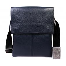 Мужская кожаная сумка синяя через плечо