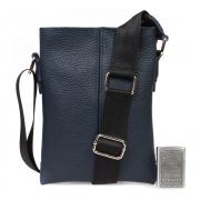 Синяя кожаная сумка через плечо для документов водителя
