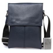 Синяя кожаная сумка для документов через плечо