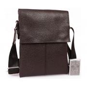 Мужская кожаная сумка для бумажника и телефона небольшая коричневая