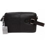 Кожаная мужская сумка-борсетка с плечевым ремнем