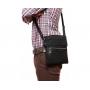 Мужская кожаная сумка через плечо с металлической молнией черная