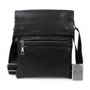 Мужская кожаная сумка через плечо с металической молнией черная