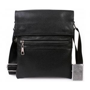 Мужская кожаная сумка через плечо с металлической молнией CasualStyle SM-4386 черная