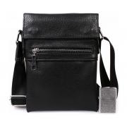 Небольшая мужская кожаная сумка для документов черная