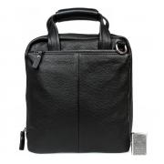 Черная деловая кожаная сумка под документы А4 с отделением для планшета