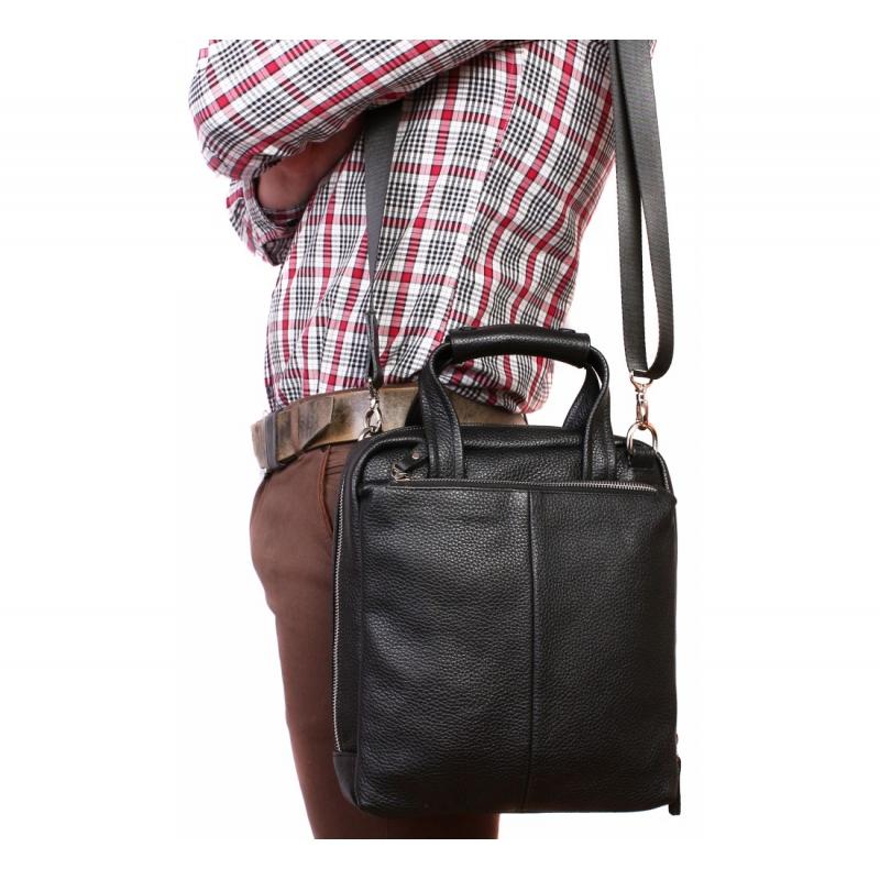 3667be08eaa3 Черная деловая кожаная сумка под документы А4 с отделением для планшета  заказать