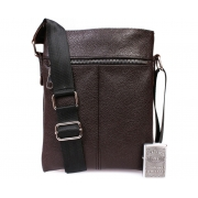 Кожаная мужская повседневная сумка через плечо коричневая