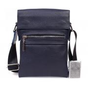 Небольшая мужская кожаная сумка для документов синяя