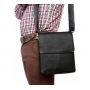 Элегантная мужская кожаная сумка с клапаном и наплечным ремнем