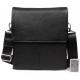 Элегантная мужская кожаная сумка с клапаном и наплечным ремнем CasualStyle SM-4429 черная