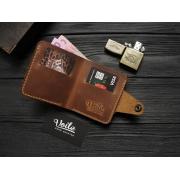 Мужской кожаный бумажник ручной работы VOILE vl-mw8-lbrn-tbc