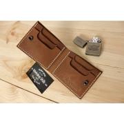 Мужской кожаный бумажник ручной работы VOILE vl-mw4-lbrn-beg