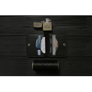 Мужской кожаный бумажник ручной работы VOILE vl-mw3-blk
